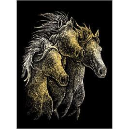 5511-BD9 GOLD ENGRAVING HORSES