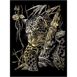 5511-BD7 GOLD ENGRAVING LEOPARD IN TREE