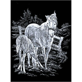 5511-AD9 SILVER ENGRAVING MARE & FOAL